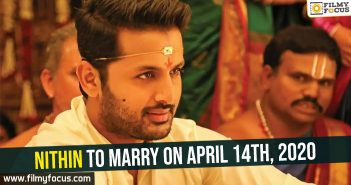 Nithin to marry on April 14th, 2020