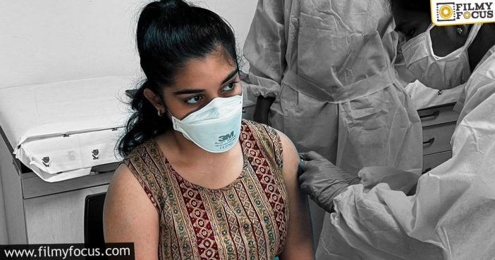 nivetha thomas gets her first jab of vaccination